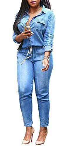 62add10a01fd Femme Denim Jeans Playsuits Pour Combinaison Crayon-Pantalon Combinaison  Boutonnée Drawstring Bodysuit Jumpsuits Ensemble