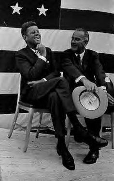 JFK sitting with Johnson..I wonder if they really got along. I imagine Lyndon probably got under John's skin a bit.
