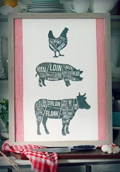 Fabric Printed Butcher Diagram with Silhouette Cut File - FYNES DESIGNS | FYNES DESIGNS