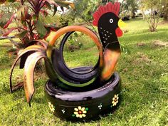 Tire Garden, Garden Deco, Tired Animals, Alex Craft, Tire Craft, Painted Tires, Tire Planters, Tyres Recycle, Old Tires
