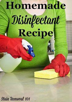 Simple and effective homemade disinfectant recipe using just 3 ingredients, plus tips for how long it takes to work {on Stain Removal 101} #DisinfectantRecipe #HomemadeDisinfectantRecipe #HomemadeCleaners Bathroom Cleaning Hacks, Household Cleaning Tips, Homemade Cleaning Products, Cleaning Recipes, House Cleaning Tips, Cleaning Supplies, Kitchen Cleaning, Household Cleaners, Green Cleaning