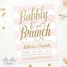 blush pink stripes gold glitter bubbly and brunch bridal shower invitation
