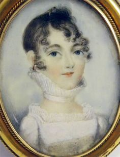 ANTIQUE EARLY 19TH CENTURY PORTRAIT MINIATURE PAINTING OF A PRETTY YOUNG LADY