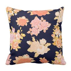 Coral and Mustard flowers adorn this rich navy blue throw pillow. Several sizes, shapes and materials, including polyester or 100% cotton.