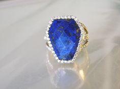 Designer Sterling Silver 925 Blue Lapis White Zircon Gemstone Cocktail Ring SZ 9 #SX #Cocktail
