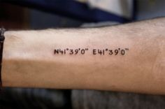 coordinates of Batumi. It's the most beautiful tiny town in Georgia with unique people, beer, buildings and so on… There live FUCKING GENIUS homie skittles. one of them has this tattoo, other's are my friends