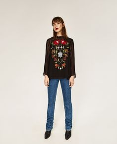 ZARA - WOMAN - EMBROIDERED PLUMETIS BLOUSE