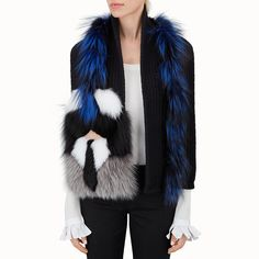 FENDI KARLITO SCARF - black wool and inlaid fur - view 3 detail Ring  Earrings bea0e1f57a36