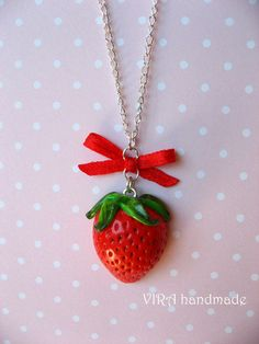 Strawberry Fimo Necklace