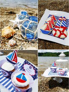 Nautical party ideas with DIY decorations - BirdsParty.com