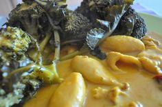 caril de lulas com brócolos