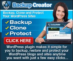"""Backup Creator: …Instantly Backup Your WordPress Membership Sites, Blogs, and Sales Letters in One Click…Then Restore Them Anywhere You Like…Even """"Copy"""" Your WordPress Installation To Any New Location…So Setting Up A New Membership Site, Blog, or Sales Letter, With The Exact Same Plugins And Settings, Is As Easy As Clicking A Button. Click to see it in action."""