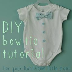 For Your Next Baby Showers, Make These Adorable DIY Bowtie Onesies. Tutorial by Sew Lah Tea Dough.