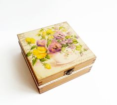 Decoupage wooden tea box sping flowers with by MKedraDecoupage, $28.00