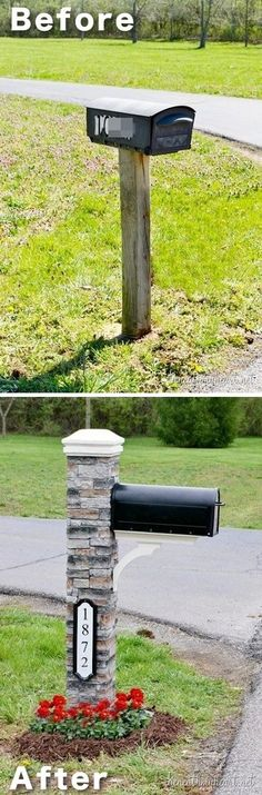 Easy and Cheap Curb Appeal Ideas Anyone Can Do (on a budget!) Give your mail box a makeover! ~ 17 Impressive Curb Appeal Ideas (cheap and easy!)Give your mail box a makeover! ~ 17 Impressive Curb Appeal Ideas (cheap and easy! Home Improvement Projects, Home Projects, Home Decoracion, Makeover Before And After, Ideas Hogar, Exterior Makeover, Diy Exterior, Exterior Remodel, Exterior Design