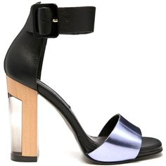 Miista Lily Black/Lavender Heeled Sandals ($178) ❤ liked on Polyvore featuring shoes, sandals, purple, black high heel sandals, high heel sandals, black shoes, purple high heel shoes and black high heel shoes
