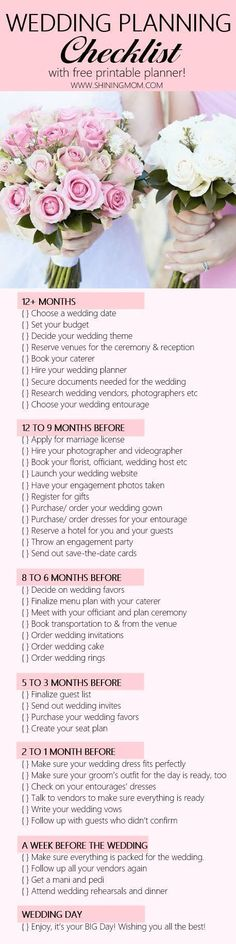 Never miss an important detail on your wedding with this wedding planning checklist! It also comes with a free planner! #wedding #weddingideas #weddingtrends #weddingplanningchecklist