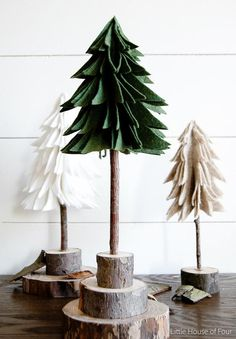 Create these super easy (and inexpensive!) felt trees for a fraction of the price! Find the tutorial at Littlehouseoffour. christmas tree decorations How to Make DIY Rustic Felt Christmas Trees Rustic Christmas Ornaments, Farmhouse Christmas Decor, Diy Christmas Tree, Felt Ornaments, Christmas Projects, All Things Christmas, Christmas Holidays, Christmas Decorations, Ornaments Ideas