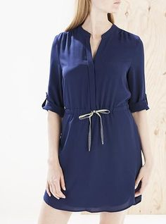 af40eefc3c Women s Tunic Dress - Navy Blue   Short Sleeves   Tie Front