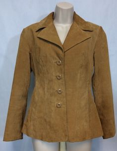 Wilsons Leather Size XS Womens Suede Jacket Light Brown Camel Long Sleeve Button   eBay