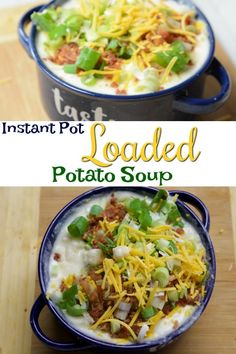instant pot loaded potato soup - make it crazy easy by using frozen hash brown potatoes! Instant Cooker, Instant Pot Pressure Cooker, Pressure Cooker Recipes, Slow Cooker, Pressure Cooking, Instant Pot Dinner Recipes, Easy Soup Recipes, Healthy Recipes, Delicious Recipes