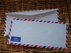 Set of 25 Vintage Style Thai Air Mail Envelopes (Long Size : 10.80 cm.x 23.50 cm.)