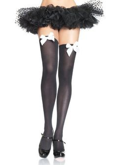 08ba56b70 Amazon.com  Leg Avenue Women s Opaque Thigh-High Stockings with Satin Bows   Clothing