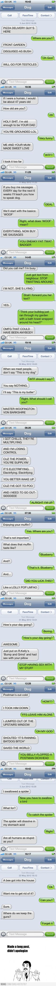 funniest thing i've read in a while.. picture your own dog saying this stuff hahahah