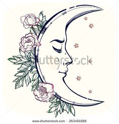 moon and sun tattoo drawing - Google Search