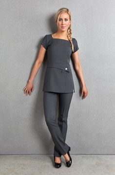 Enzo Tunic | Quality Beauty Uniforms | Florence Roby Salon Uniform, Spa Uniform, Scrubs Uniform, Staff Uniforms, Medical Uniforms, Beauty Tunics, Beauty Uniforms, Scrubs Outfit, Uniform Design