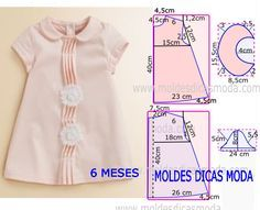 No seguimento de algumas solicitações a publicação de hoje contempla o molde vestido bebé (6 meses). A ilustração do molde não tem valor de costura.