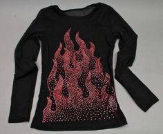 Sheer Sexy Black Dressy T Shirt Style Top with Red Flames Small Petit Graphic Sweatshirt, T Shirt, Shirt Style, Christmas Sweaters, Long Sleeve Tops, Amp, Sweatshirts, Sexy, Black
