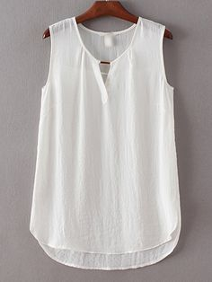 SheIn offers White Sleeveless Dipped Hem Split Blouse & more to fit your fashionable needs. Blouse Styles, Blouse Designs, Summer Fashion Outfits, Girl Fashion, Sewing Blouses, Blouse Online, Lace Dress, Clothes For Women, Stitch