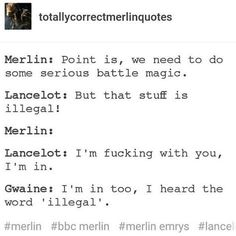 Merlin, Lancelot and Gwaine Merlin Memes, Merlin Funny, Merlin Quotes, Sherlock Quotes, Merlin Show, Merlin Fandom, Merlin Merlin, Lancelot Merlin, Hunger Games