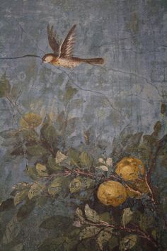 A detail of the garden fresco from the winter triclinium (dining room) from the Villa of Livia, wife of Augustus, Rome. The life-size representations of trees, flowers, fruit, and birds decorate all four walls of the room to create a continuous and 360° view of a garden, which adds perspective by increasing clarity in the foreground subjects. Palazzo Massimo, Rome.