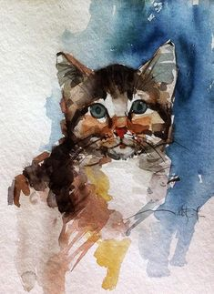 Art of Mustafa Köseoğlu: Watercolor cats / Suluboya kediler - Chat Painting easy Painting ideas Painting water Painting tutorials Painting landscape Painting abstract Watercolor Painting Watercolor Sketch, Watercolour Painting, Art Et Illustration, Inspiration Art, Watercolor Animals, Cat Drawing, Painting Techniques, Animal Drawings, Cat Art