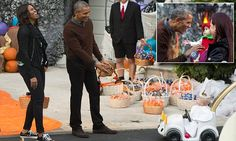 Hundreds of children dressed up in spooky costumes took over the White House's South Lawn to celebrate Halloween with President Obama and the First Lady.