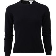 Oscar De La Renta Merino Knit Top (14,995 MXN) ❤ liked on Polyvore featuring tops, black top, merino top, oscar de la renta, knit tops y slimming tops