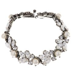Ben-Amun Bridal Bridal Pearl and Floral Crystal Bracelet