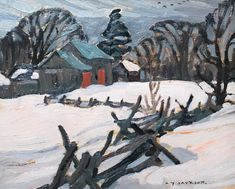 """Snake Fence, Knowlton,"" A.Y. Jackson, 1928, oil on panel, 8.5 x 10.5"", private collection."