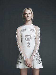 Alexander Wang Laser-Cut white dress in parchment sheepskin