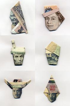 These clever money origami portraits are created by Japanese graphic designer Yosuke Hasegawa. Paper Clay, Paper Art, Paper Crafts, Money Origami, Paper Folding, Folk Art, Japanese, Graphic Design, Batch Number