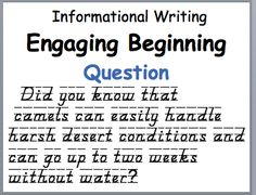 Panicked Teacher's Engaging Beginning Example from Informational Writing Kit Informative Writing, Informational Writing, Nonfiction, Teaching Writing, Teaching Ideas, School Days, School Stuff, Education And Literacy, Report Writing