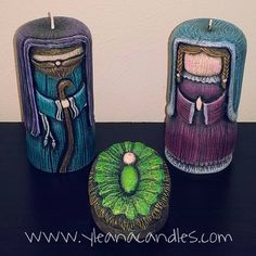 Handmade carved candles, by Yleana Candles.