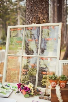 outdoor lake tahoe wedding - we love the table numbers chart Fall Wedding, Diy Wedding, Dream Wedding, Wedding Tables, Rustic Wedding, Pretty Things, Seating Chart Wedding, Seating Charts, Neon Painting