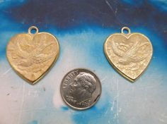 Gold Plated White Frosted Patina Brass Heart And Bird Charms Pendants 249WHT x2 by dimestoreemporium on Etsy