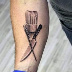 60 Chef Knife Tattoo Designs For Men - Cook Ink Ideas - Chef Hat With Knife Mens Inner Forearm Tattoos You are in the right place about 60 Chef Knife Tattoo - Inner Forearm Tattoo, Forearm Tattoos, Body Art Tattoos, Essen Tattoos, Neue Tattoos, Future Tattoos, Tattoos For Guys, Koch Tattoo, Cooking Tattoo