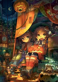 Alice and Marisa enjoying their Halloween swag; dolls seem to be having a good time, too. Animé Halloween, Manga Anime, Anime Art, Anime Chibi, Manga Characters, Halloween Wallpaper, Kawaii Cute, Gothic Lolita, Trick Or Treat