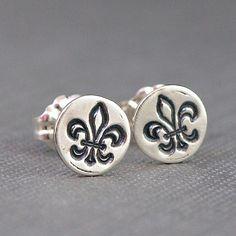Fleur de Lis Jewelry   Small Sterling Silver Stud Earrings. $15.00, via Etsy.