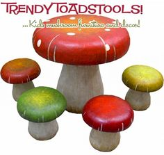 Toadstool table and stools